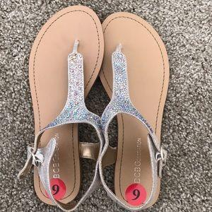 BCBG Generation Nude Sparkly Sandals